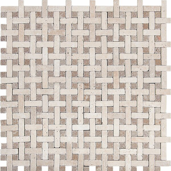 Basketweave Tumbled Stone Mosaic Tile in Ivory-Noce by Parvatile