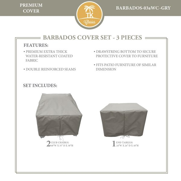 Barbados 3 Piece Water Resistant Patio Chair Cover Set by TK Classics