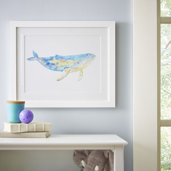 Humpback Whale Watercolor Sea Mammals Framed Print by Birch Lane Kids™