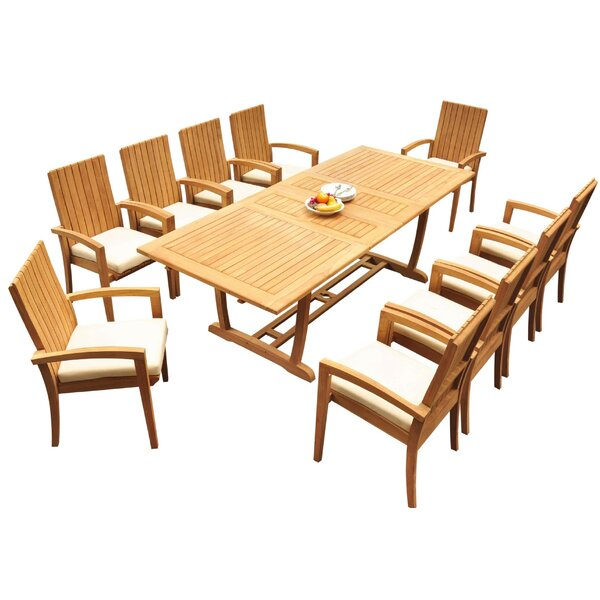 Westbrook 11 Piece Teak Dining Set Bayou Breeze W001959722