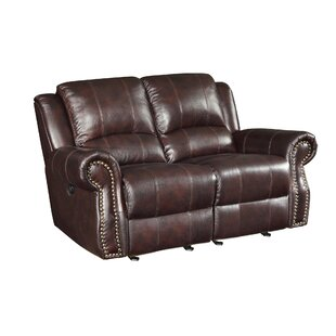 Leather Motion Reclining Loveseat Wildon Home ?
