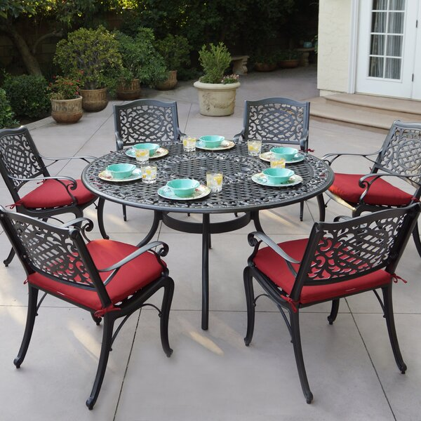 Apple By 7 Piece Metal Dining Set With Cushions By Astoria Grand