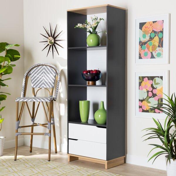 Review Mcilwain Mid-Century Modern Multicolor 2-Drawer Wood Living Room Bookshelf
