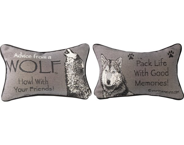 Advice from a Wolf Word Lumbar Pillow by Manual Woodworkers & Weavers
