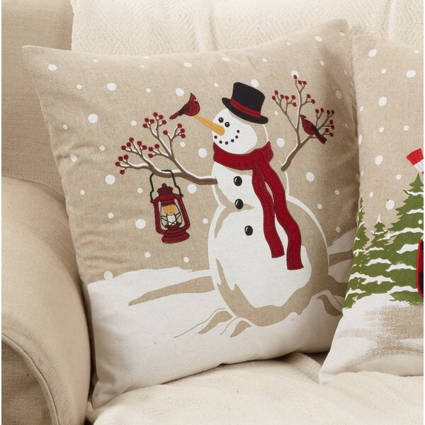 Arnold Happy Snowman Throw Pillow by The Holiday Aisle