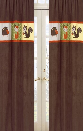Forest Friends Wildlife Semi-Sheer Rod Pocket Curtain Panels (Set of 2) by Sweet Jojo Designs