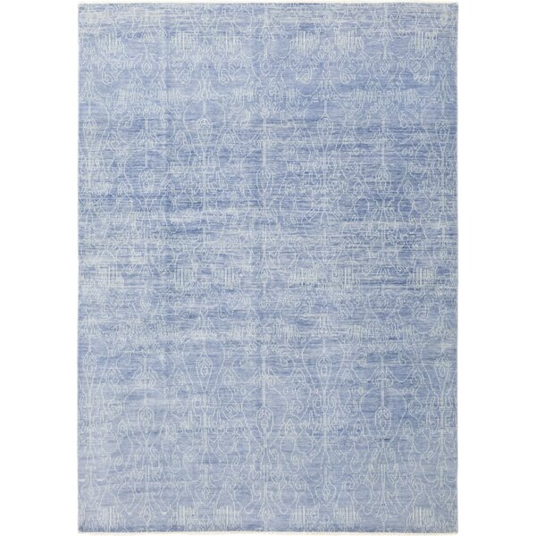 One-of-a-Kind Cushman Hand-Knotted Wool Blue Indoor Area Rug by Isabelline