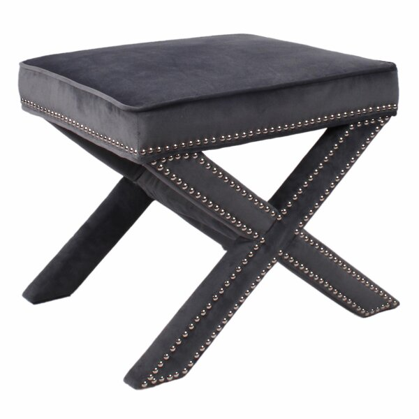 Gerace Nailhead Stool by House of Hampton