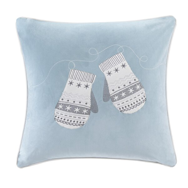 Vandyne Winter Snow Mittens Embroidered Throw Pillow by Charlton Home