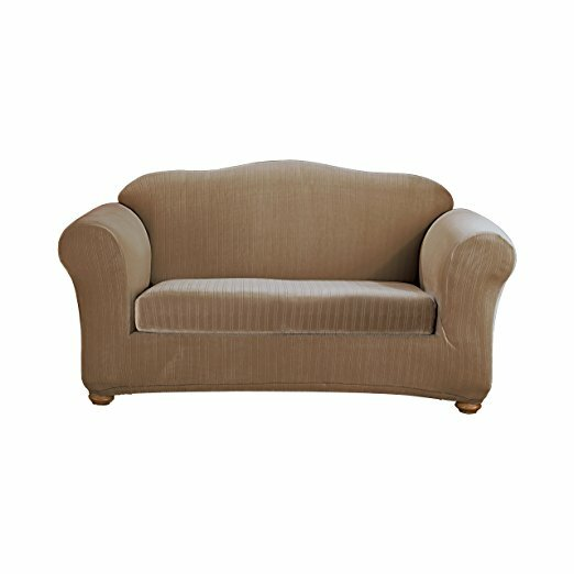 Stretch Pinstripe Box Cushion Sofa Slipcover by Sure Fit