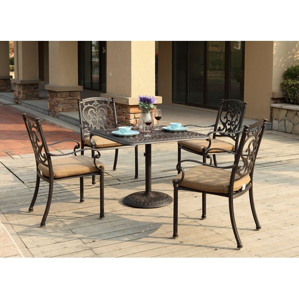 Batista 5 Piece Square Dining Set with Cushions by Fleur De Lis Living