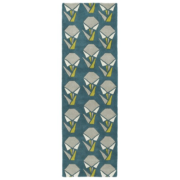 Ronnie Hand-Tufted Teal Area Rug by Wrought Studio