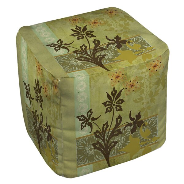 Patterned Collage Blossoms Pouf by Manual Woodworkers & Weavers