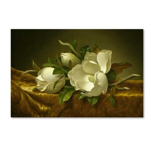 'Magnolias On Gold Velvet Cloth' Print on Wrapped Canvas by Trademark Fine Art