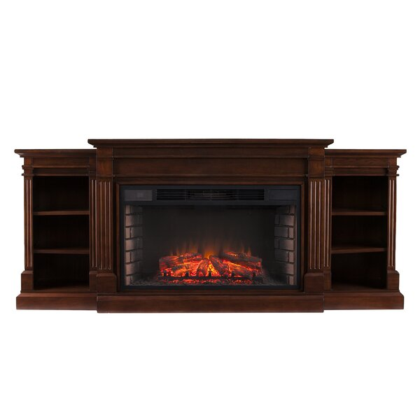 Raffin Reeder Widescreen and Bookcases in Espresso Electric Fireplace by Darby Home Co