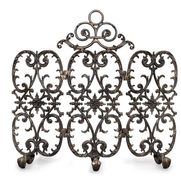 Siena 3 Panel Iron Fireplace Screen By Ornamental Designs