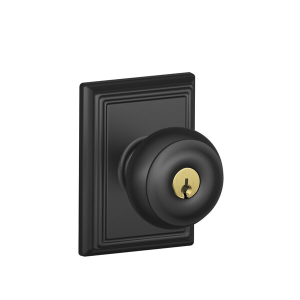 Georgian Knob with Addison Trim Keyed Entry Lock b