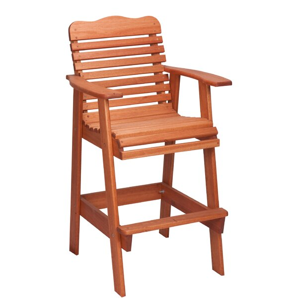 Red Grandis 30.5'' Patio Bar Stool by Hinkle Chair Company