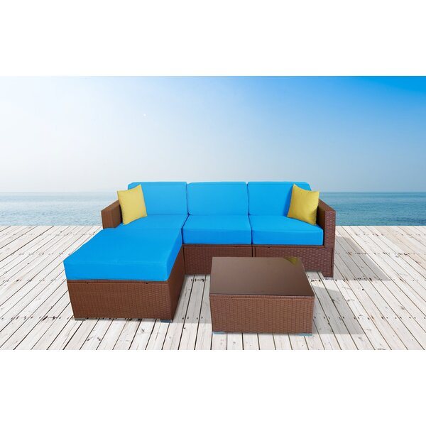 Chipps 5 Piece Rattan Sectional Seating Group with Cushions by Orren Ellis