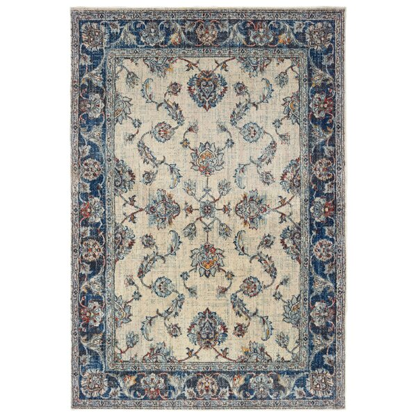 Pateros Bordered Ivory/Blue Area Rug by World Menagerie