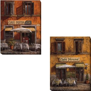 'Cafe Roma and Cafe Verona' by Malcolm Surridge 2 Piece Graphic Art on Wrapped Canvas Set by Artistic Home Gallery