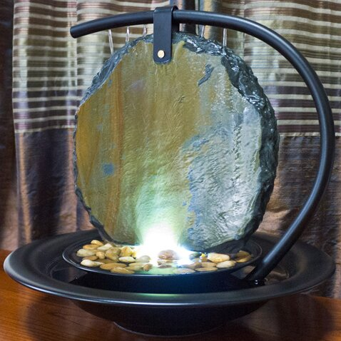 Moonshadow Metal Tabletop Fountain with Light by Bluworld
