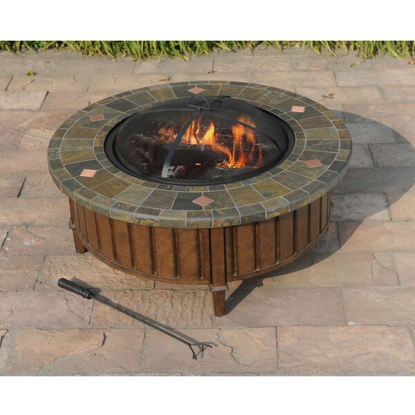Pecan Steel Wood Burning Fire Pit Table by Sunjoy