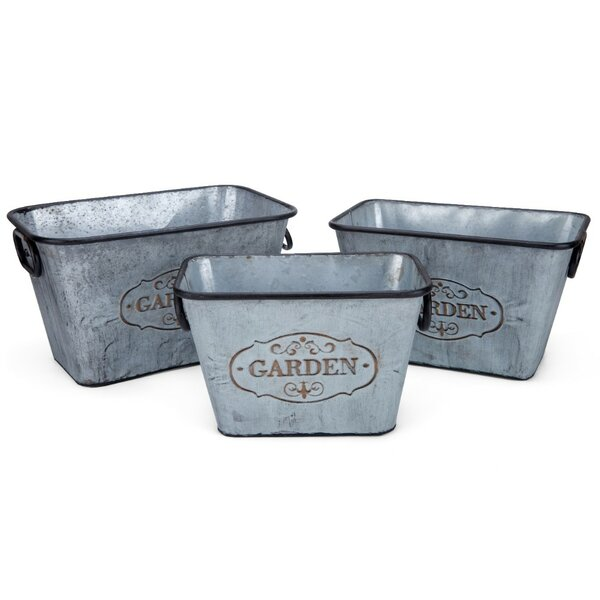 Rectangular 3-Piece Iron Planter Box Set with Handles by Benzara
