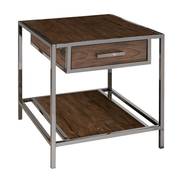 Falkner Modern Industrial Style Wood and Smoked End Table by Brayden Studio