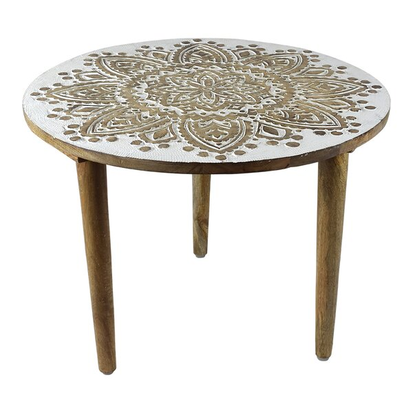 Manolis Round Wooden End Table By Bungalow Rose