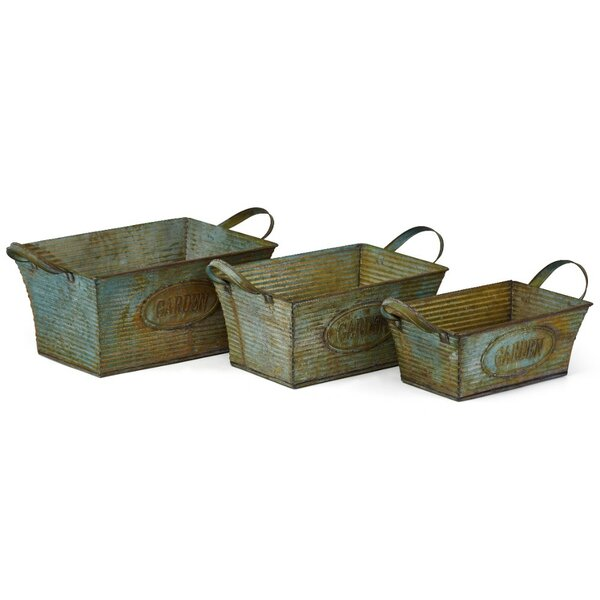 Sophisticated Washed 3-Piece Iron Planter Box Set by Benzara