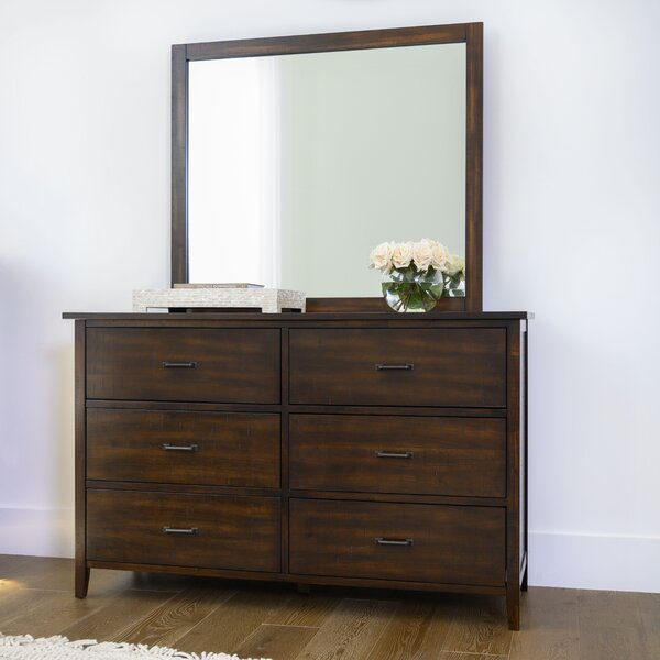 Sartell 6 Drawer Double Dresser with Mirror by Breakwater Bay