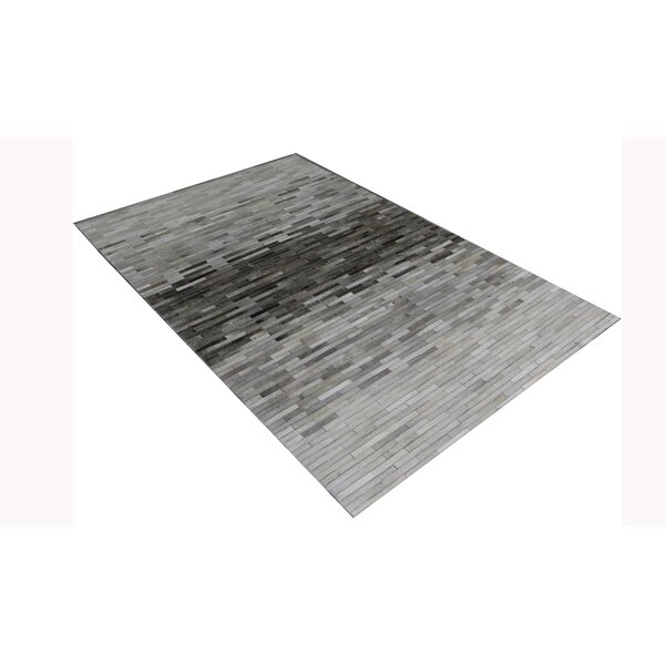 Cowhide and Hand-Loomed Silver Area Rug by Pasargad