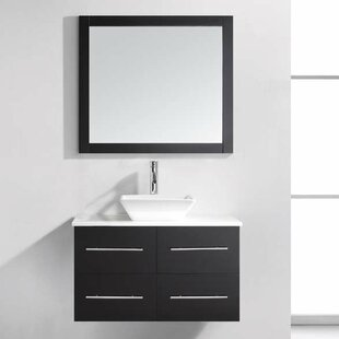 Comparison Carnforth 35 Single Bathroom Vanity Set with White Stone Top and Mirror ByWade Logan