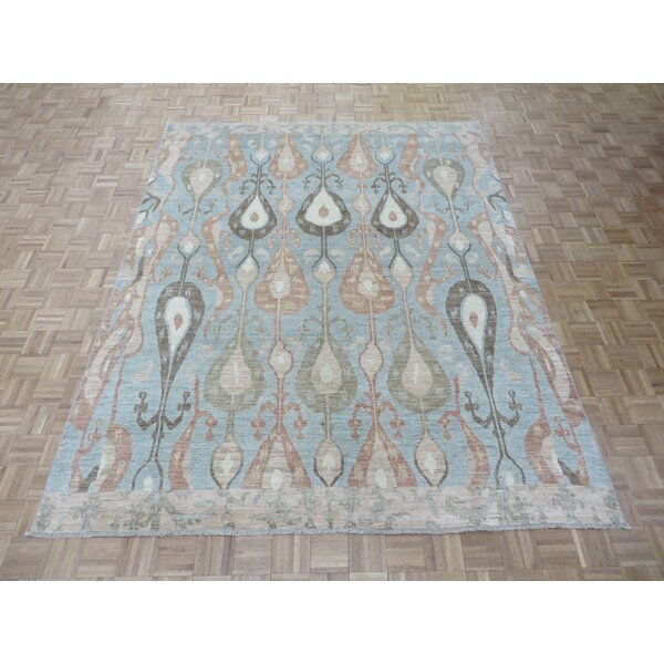 One-of-a-Kind Josephson Ikat Hand-Knotted Wool Light Blue Area Rug by Canora Grey