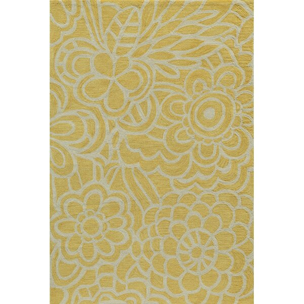 Rhea Hand-Tufted Yellow Area Rug by Wrought Studio