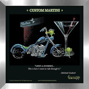 'Custom Martini' by Michael Godard Framed Vintage Advertisement by Picture Perfect International