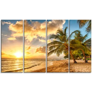 'Gorgeous Beach of Island Barbados' 4 Piece Graphic Art on Wrapped Canvas Set by Design Art