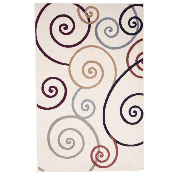 Swirls Ivory/Red Area Rug by Lavish Home