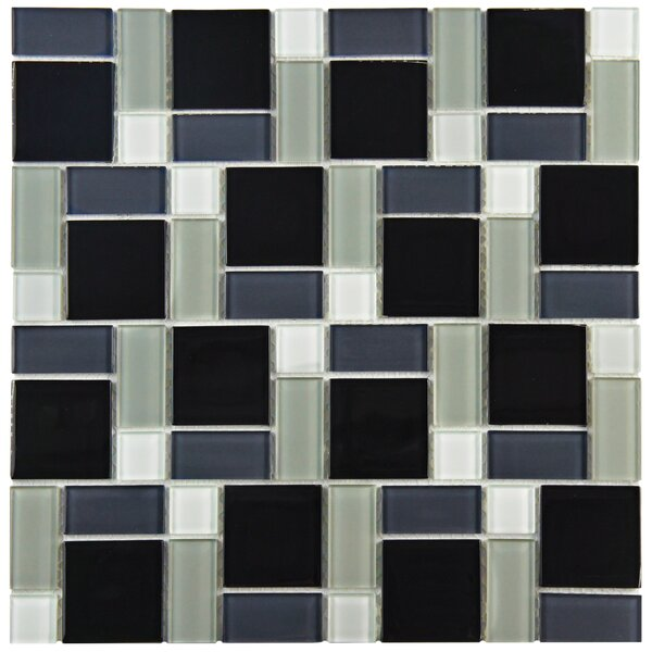 Ambit Glass Mosaic Tile in White and Black by EliteTile