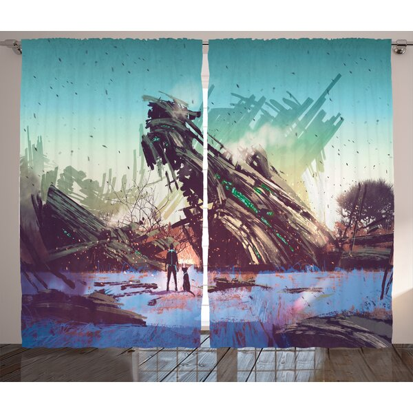 Braeden Fantasy World Graphic Print and Text Semi-Sheer Rod Pocket Curtain Panels (Set of 2) by Latitude Run