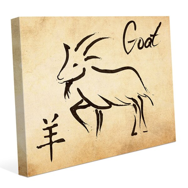 Chinese Zodiac Goat Paper Graphic Art on Wrapped Canvas by Click Wall Art