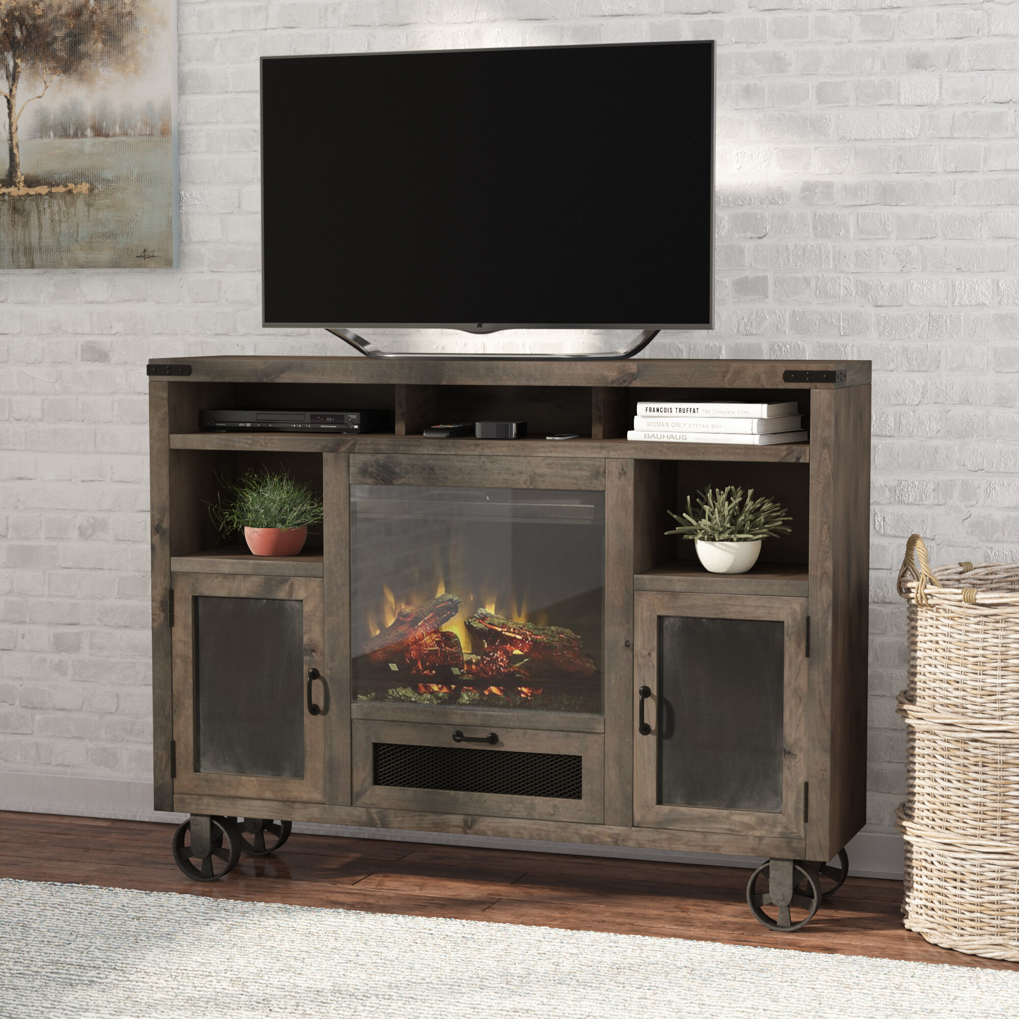 stand signature by furniture insert design rustic trinell ashley number with tv item fireplace large products