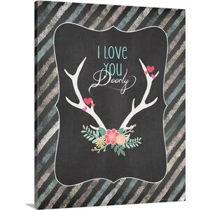 'Love You Deerly' by Jo Moulton Textual Art on Wrapped Canvas by Great Big Canvas