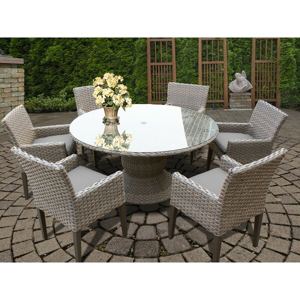 Medrano 7 Piece Outdoor Patio Dining Set with Cushion by Rosecliff Heights