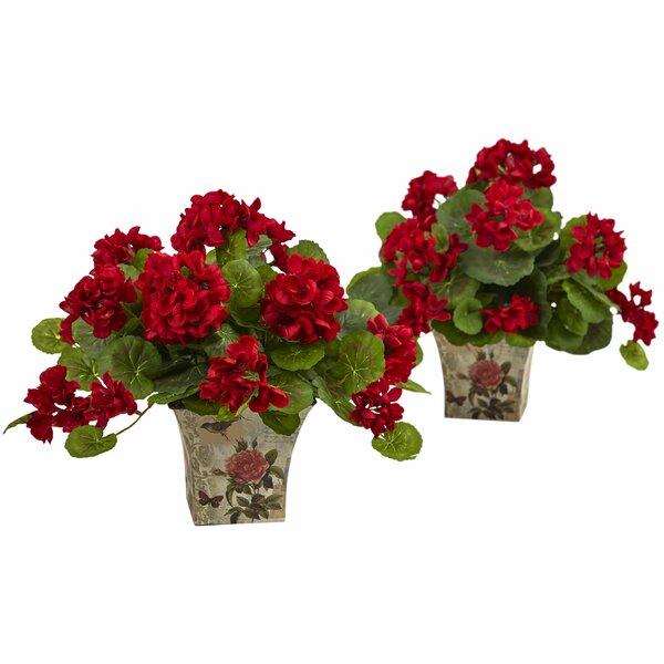 2 Piece Geranium Flowering Silk Arrangement in Planter Set by Nearly Natural