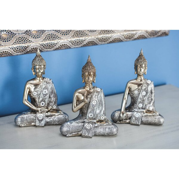 Flippen Polystone Buddha 3 Piece Figurine Set by Bloomsbury Market