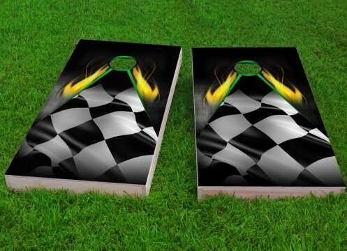 Flaming Checkered Flag Cornhole Game (Set of 2) by Custom Cornhole Boards