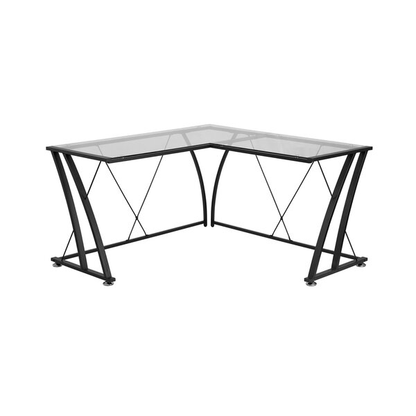 Newfane Glass L-Shape Writing Desk by Latitude Run
