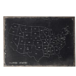Chalk Outline Map of USA Painting Print on Canvas by Laurel Foundry Modern Farmhouse